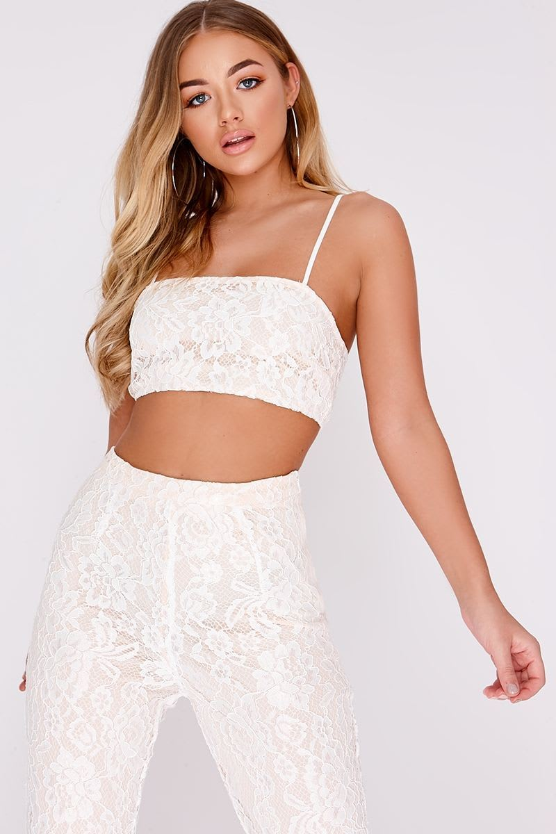 BILLIE FAIERS WHITE LACE STRAPPY CROP TOP