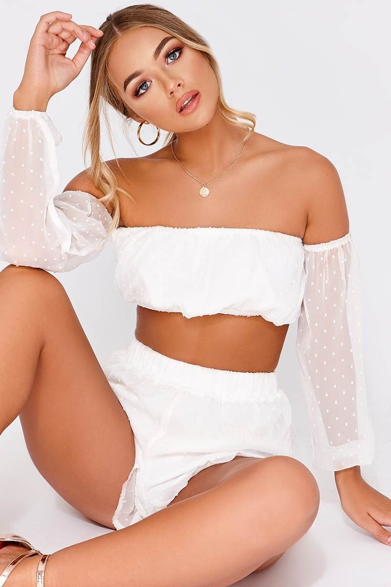 BILLIE FAIERS WHITE SPOT BARDOT CROP TOP