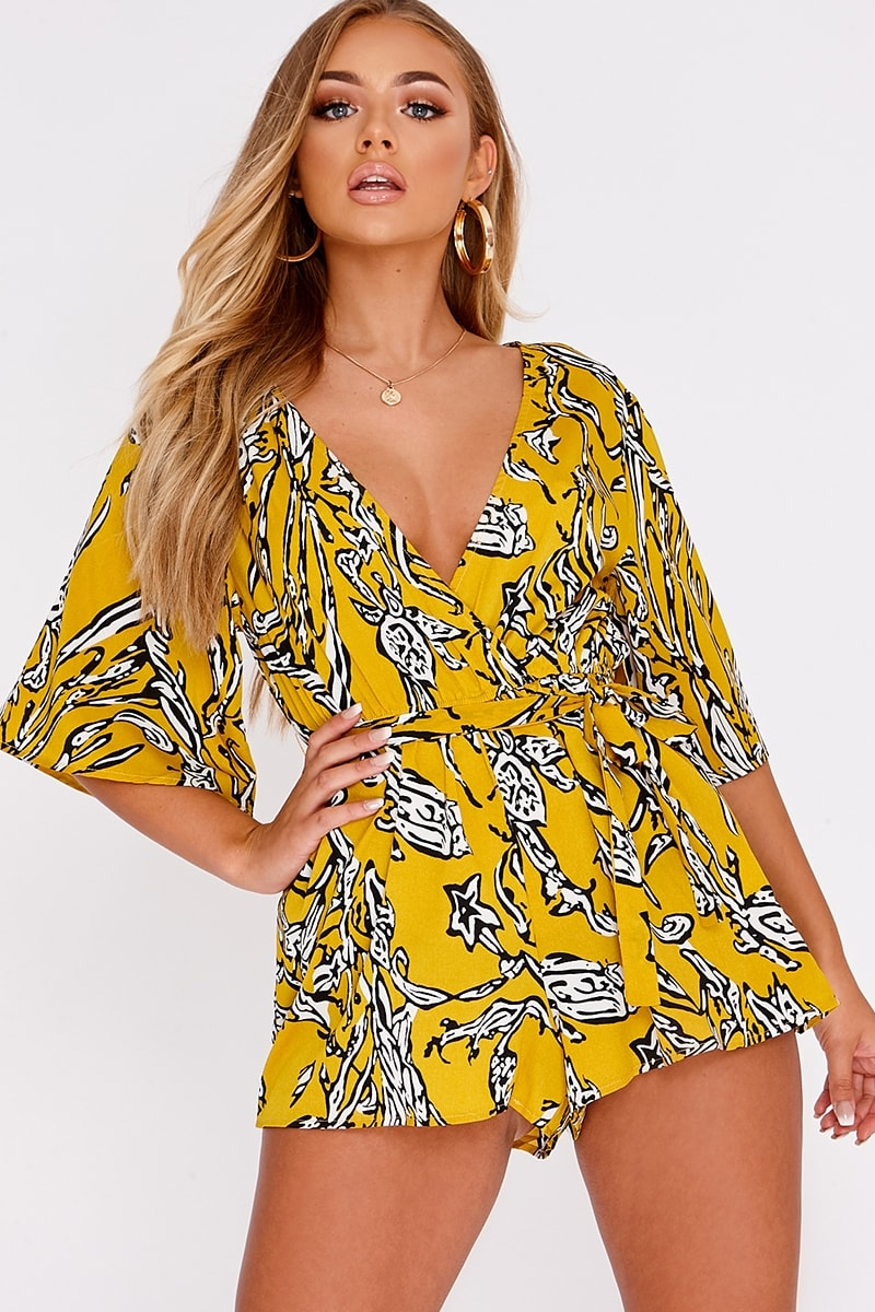 BILLIE FAIERS YELLOW ABSTRACT FLORAL WRAP FRONT PLAYSUIT