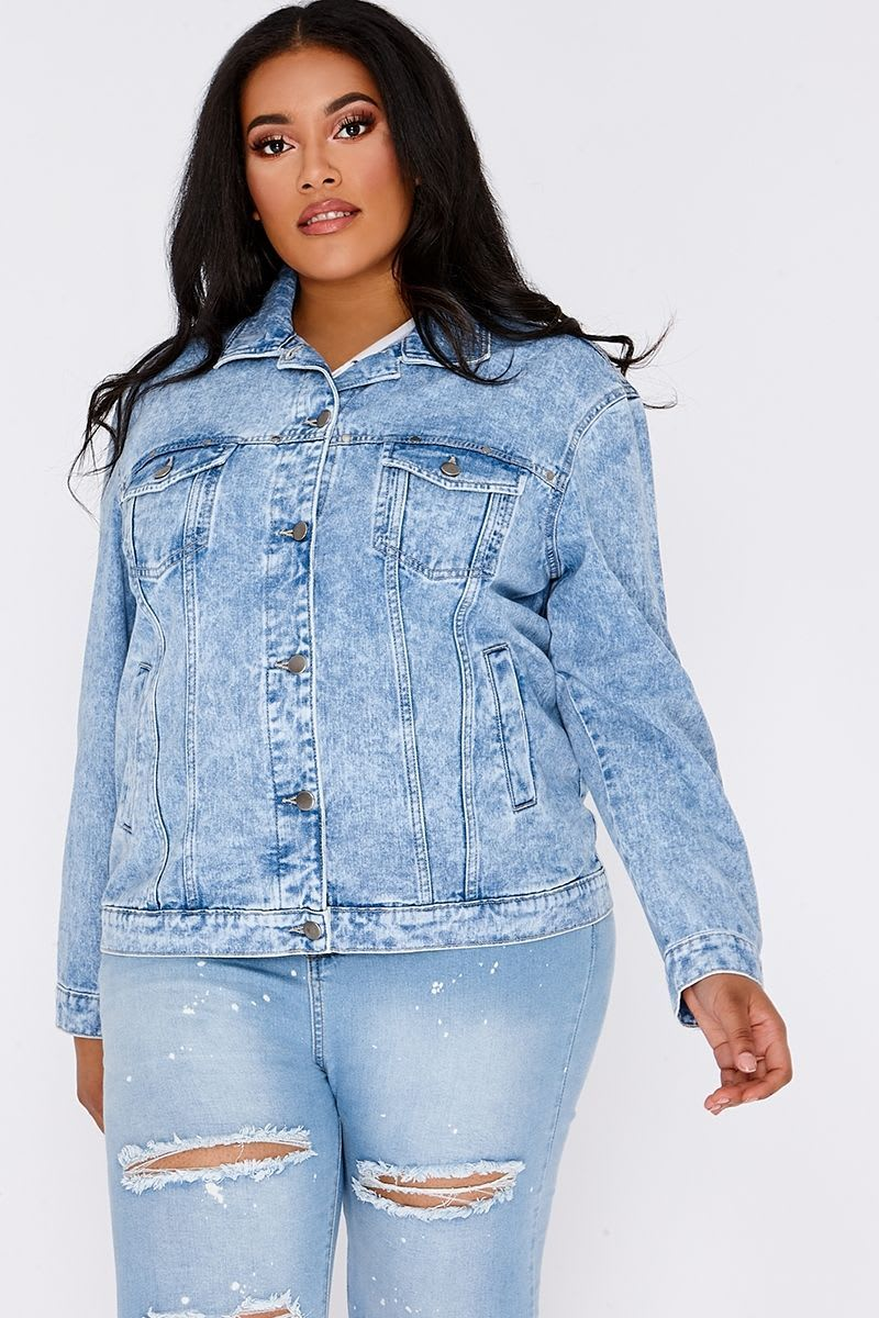 CURVE KARALEE BLUE ACID WASH FRILL BACK DENIM JACKET
