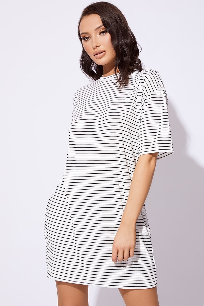 HARPUR BASIC WHITE STRIPED RIBBED T SHIRT DRESS