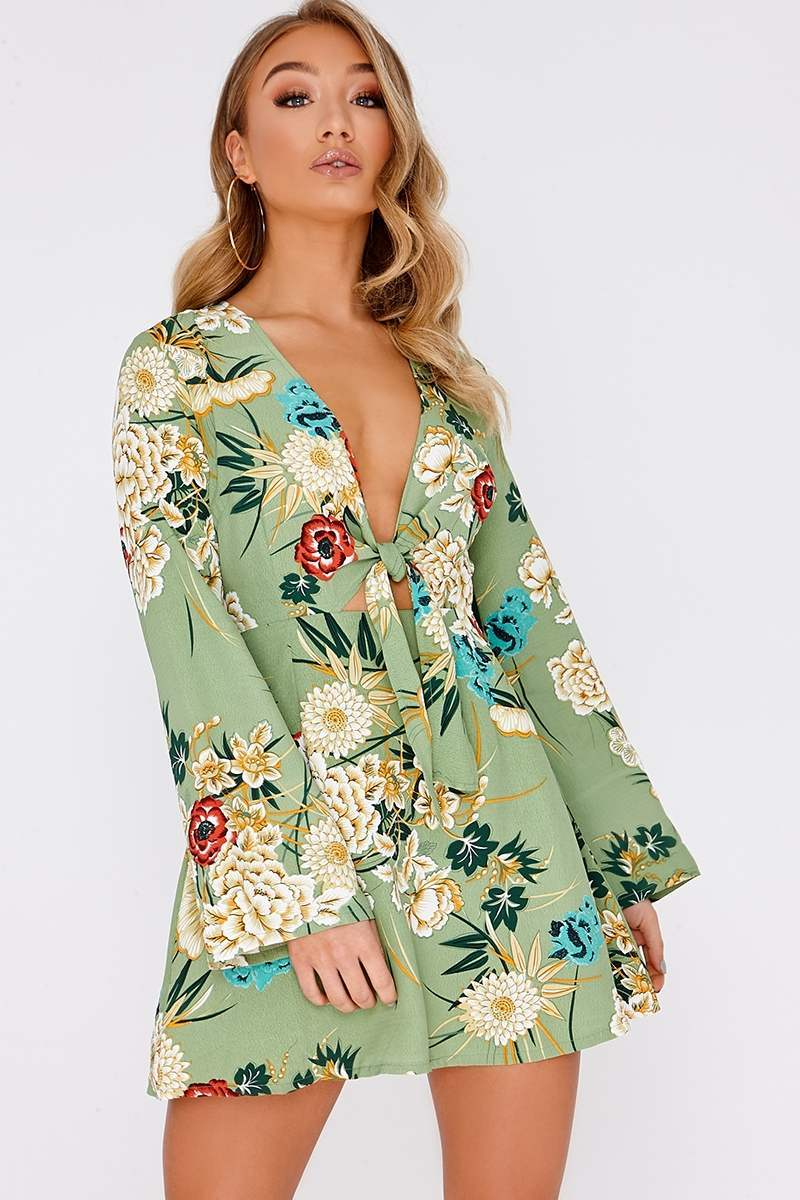 ALEATA GREEN FLORAL PLUNGE TIE FRONT DRESS
