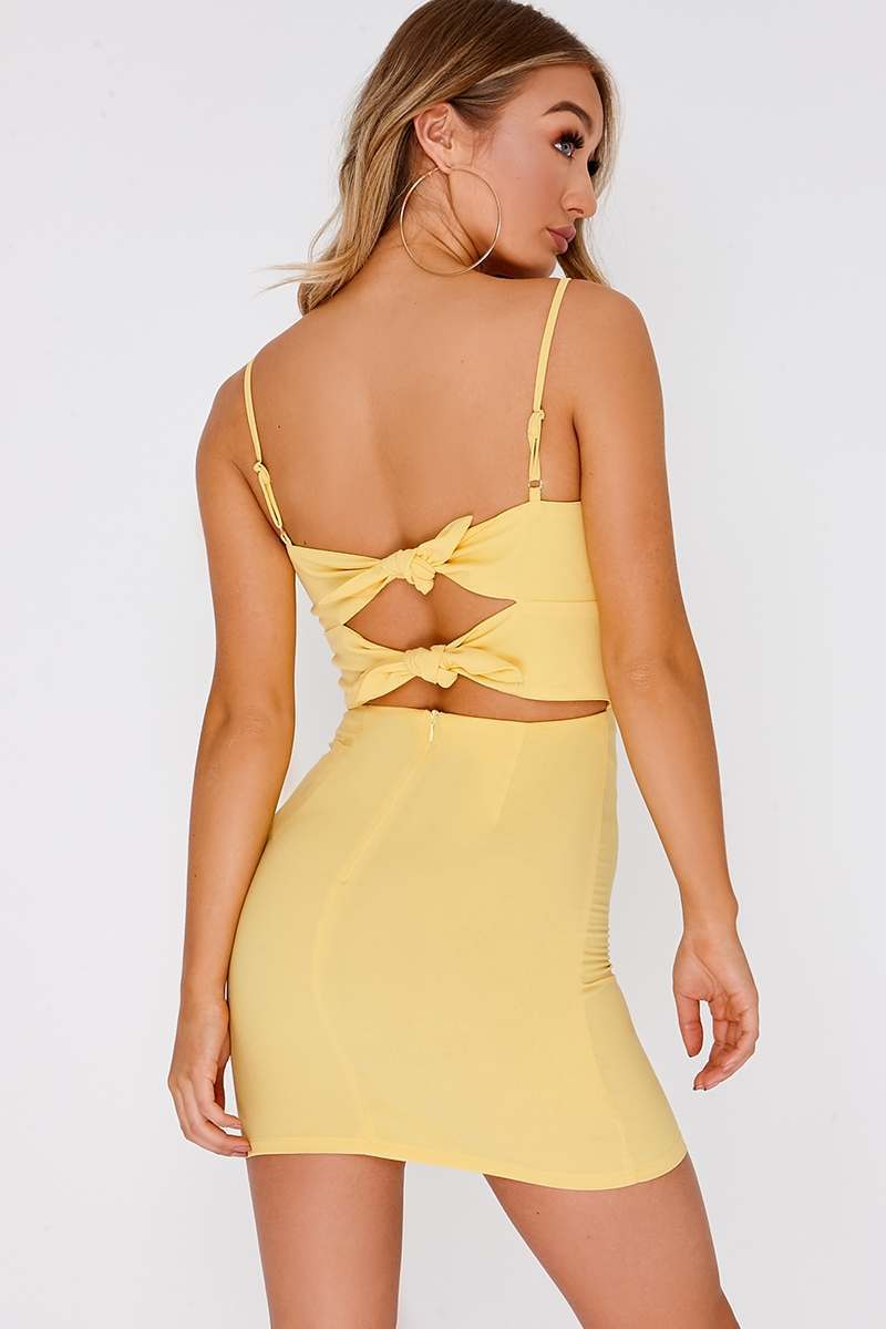 FARYL LEMON TIE BACK MINI DRESS