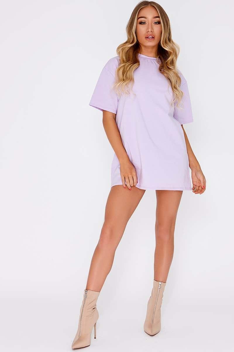 CYNDI LILAC BASIC T SHIRT DRESS