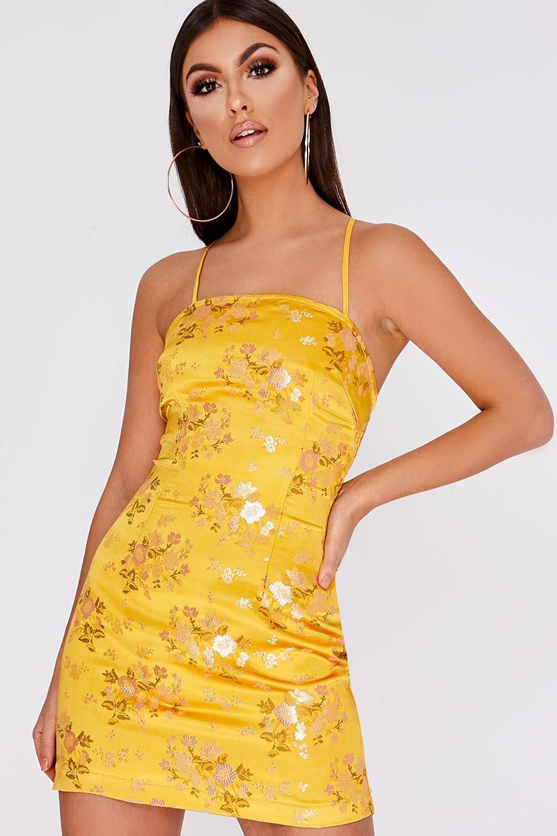 GIONNA MUSTARD ORIENTAL LACE UP BACK DRESS