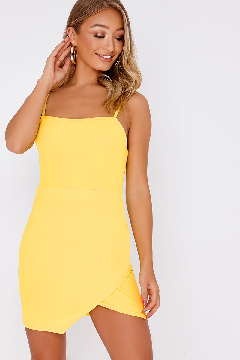 DESSY YELLOW LACE UP BACK BODYCON DRESS