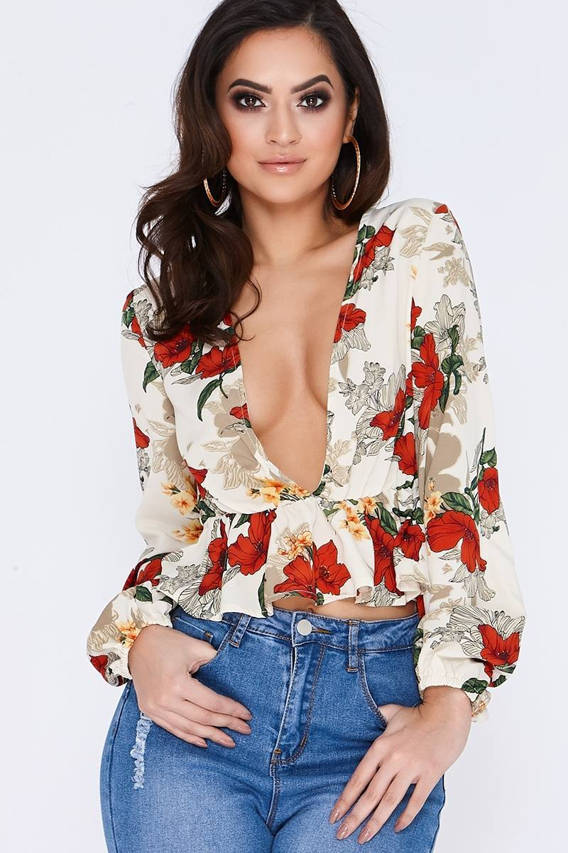 LUCILA CREAM FLORAL LONG SLEEVE PLUNGE TOP