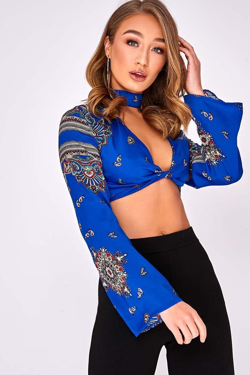 ILANIA BLUE SCARF PRINT CHOKER NECK TOP