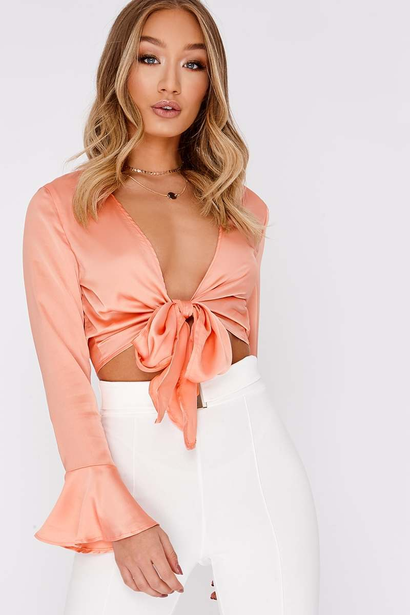 MIKEALA PEACH TIE FRONT CROP TOP