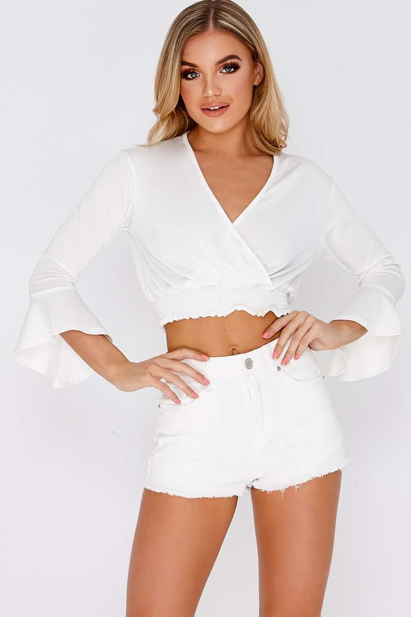 LAVELLE WHITE WRAP ELASTICATED HEM CROP TOP