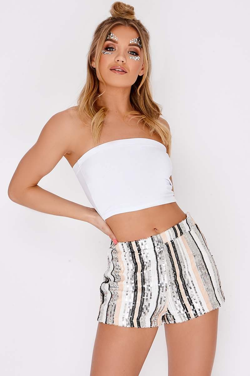 LINZEE WHITE SEQUIN STRIPED SHORTS