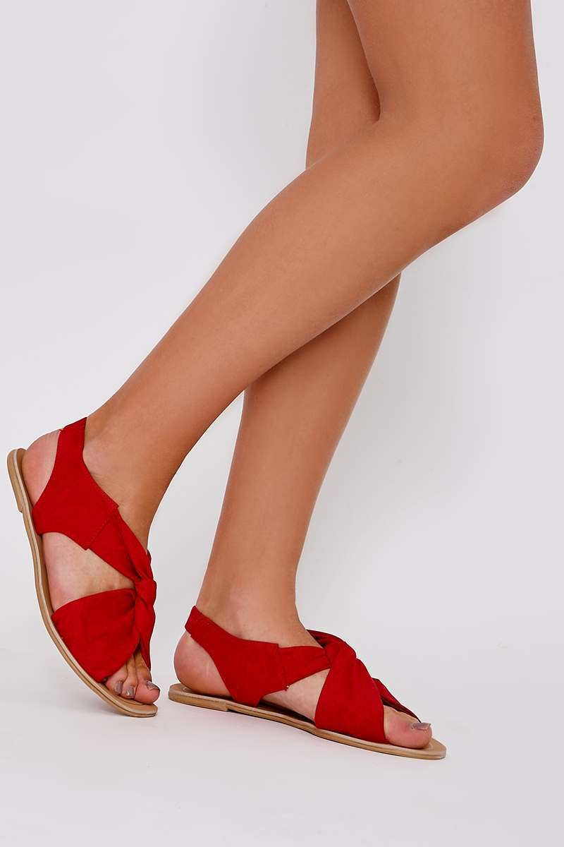 HANIA RED FAUX SUEDE TWIST STRAP SANDALS