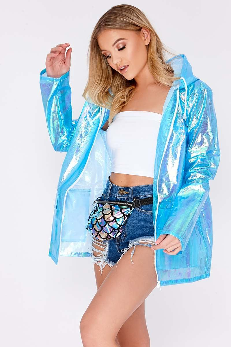 KAISLEY LIGHT BLUE HOLOGRAPHIC RAIN MAC