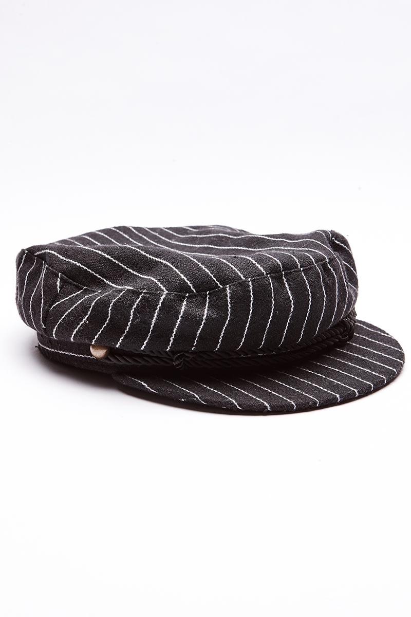 BLACK PINSTRIPE BAKER BOY HAT