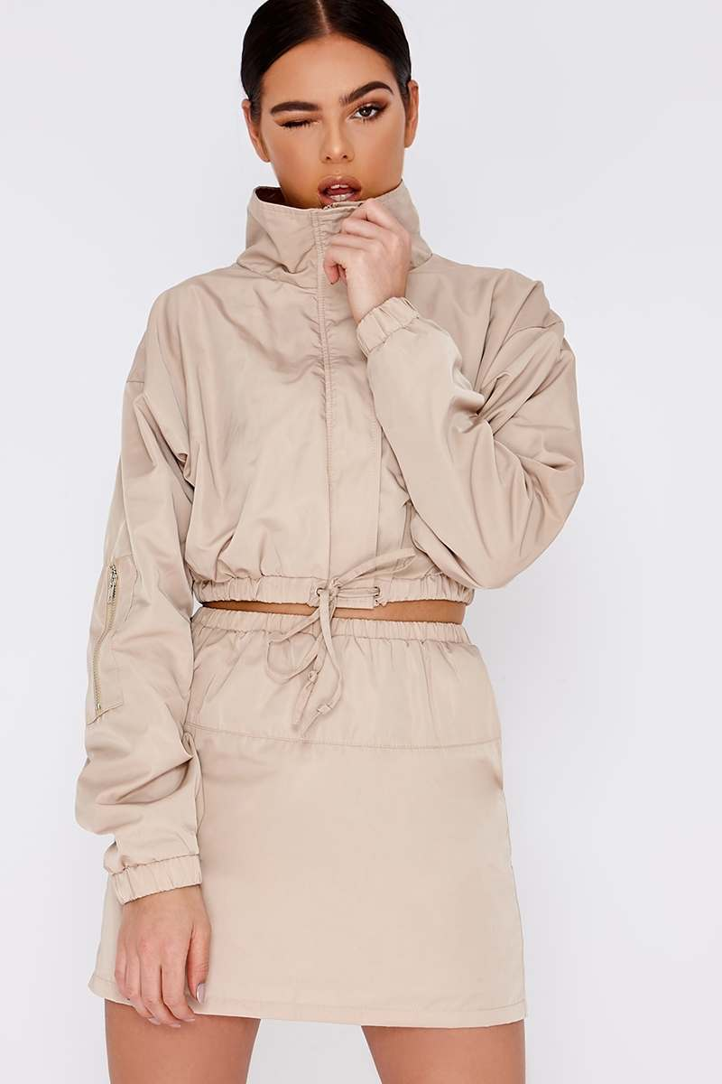 PIA MIA STONE WINDBREAKER CROPPED LONG SLEEVE JACKET
