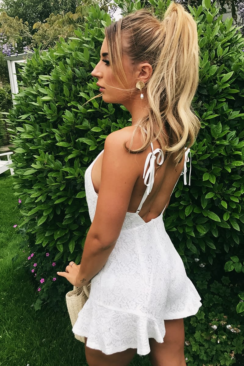 DANI DYER WHITE TIE SHOULDER LACE PLAYSUIT