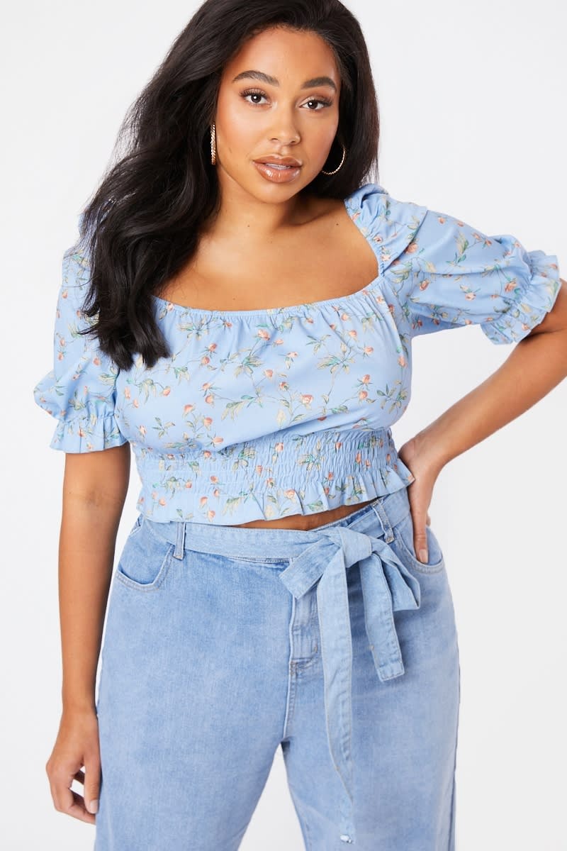 CURVE LAURA JADE BLUE FLORAL PUFF SLEEVE SHIRRED TOP