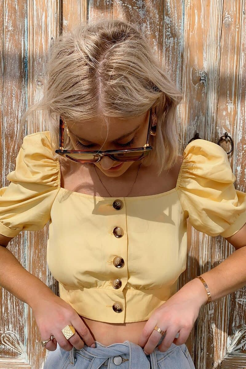 LAURA JADE YELLOW SQUARE NECK PUFF SLEEVE BUTTON FRONT CROP TOP