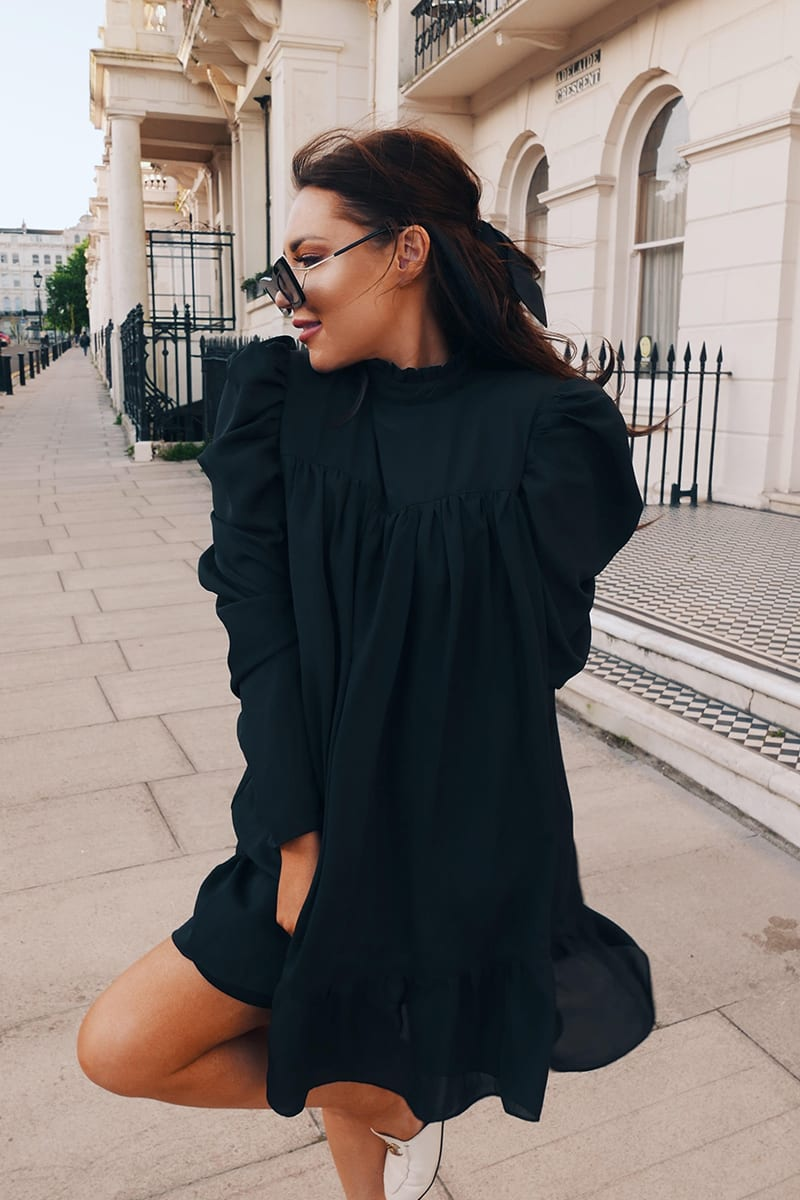 lorna-luxe-cora-pearl-black-high-neck-swing-dress by in-the-style