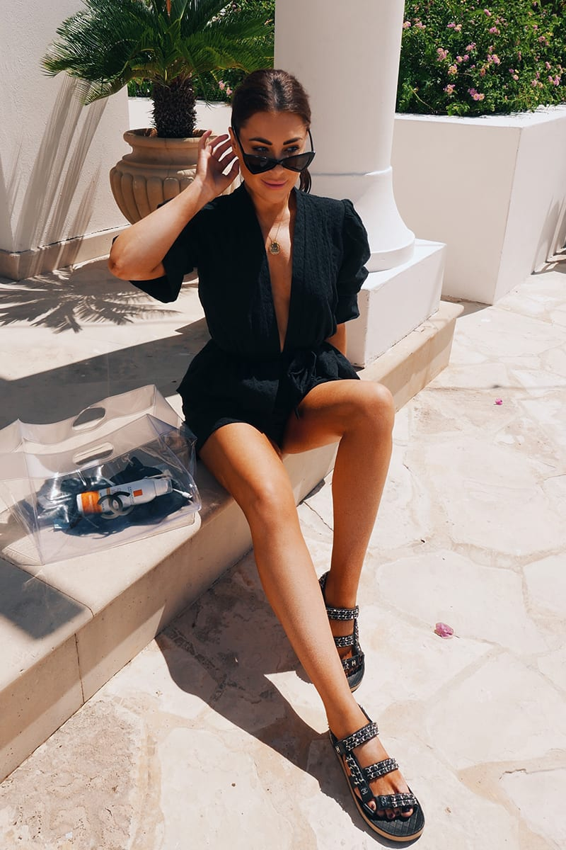 LORNA LUXE 'RIVIERA' BLACK BRODERIE ANGLAISE SHORTS