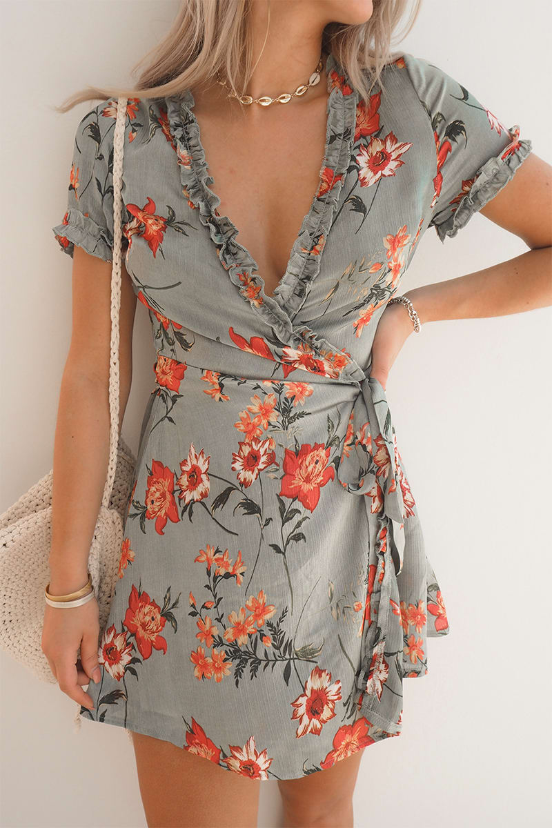 FASHION INFLUX GREEN FLORAL WRAP FRILL TRIM MINI DRESS