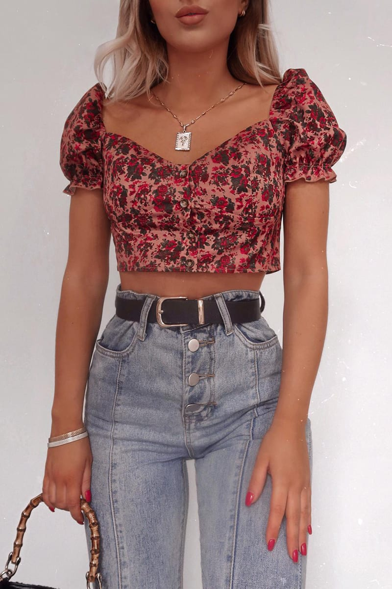 FASHION INFLUX DARK BLUSH FLORAL PUFF SLEEVE SWEET HEART TOP