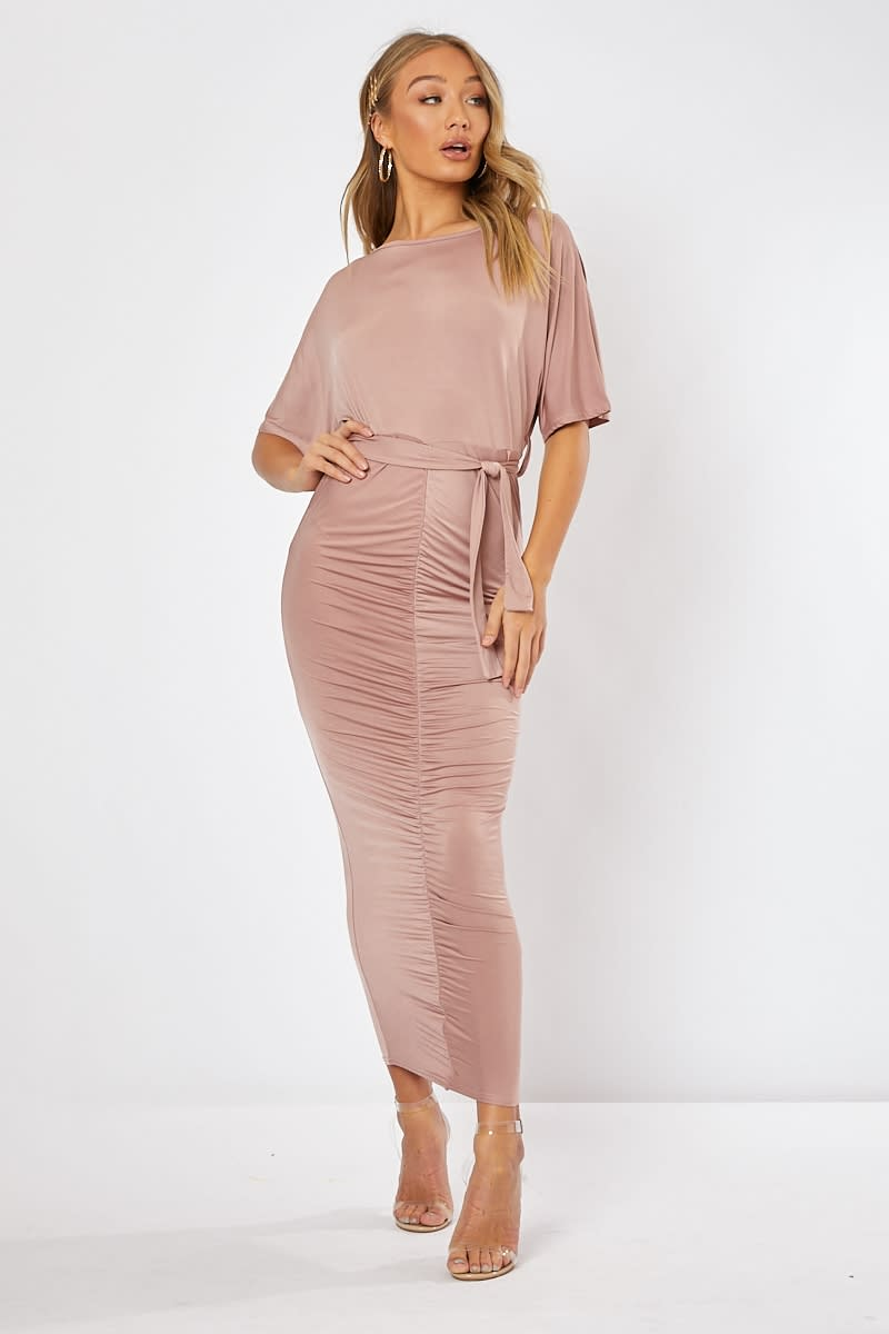 KAIA PINK SLINKY RUCHED BELTED MAXI DRESS