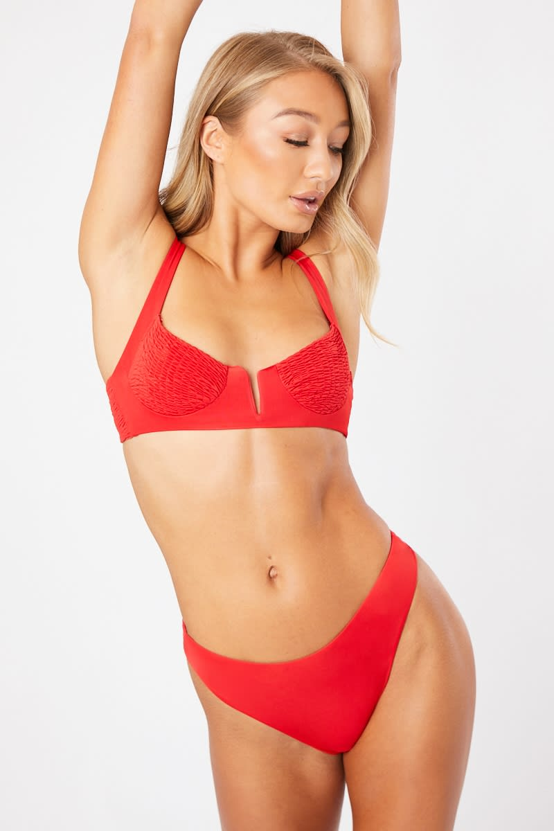 ANNORA RED SHIRRED UNDERWIRED BIKINI SET