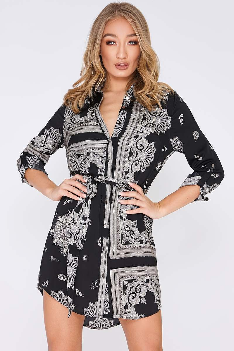 FARIA BLACK SATIN SCARF PRINT SHIRT DRESS