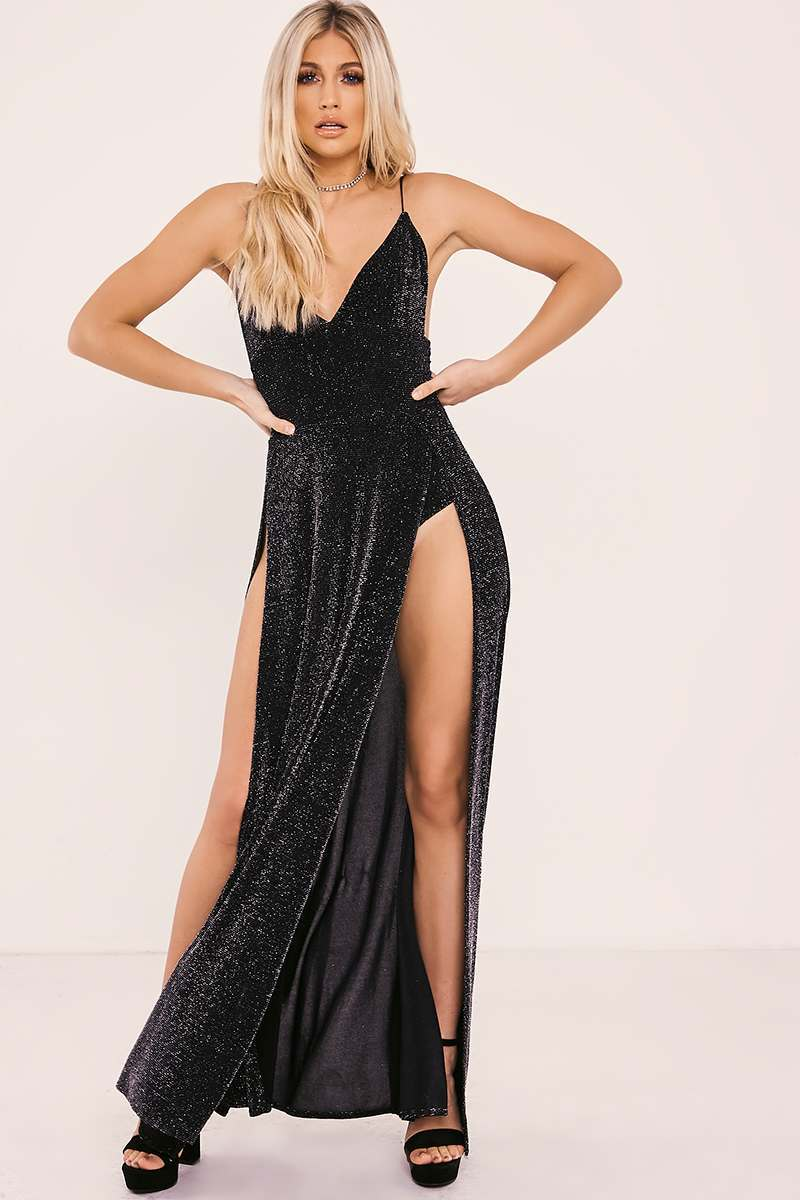 ARORA SILVER SPLIT FRONT GLITTER MAXI DRESS