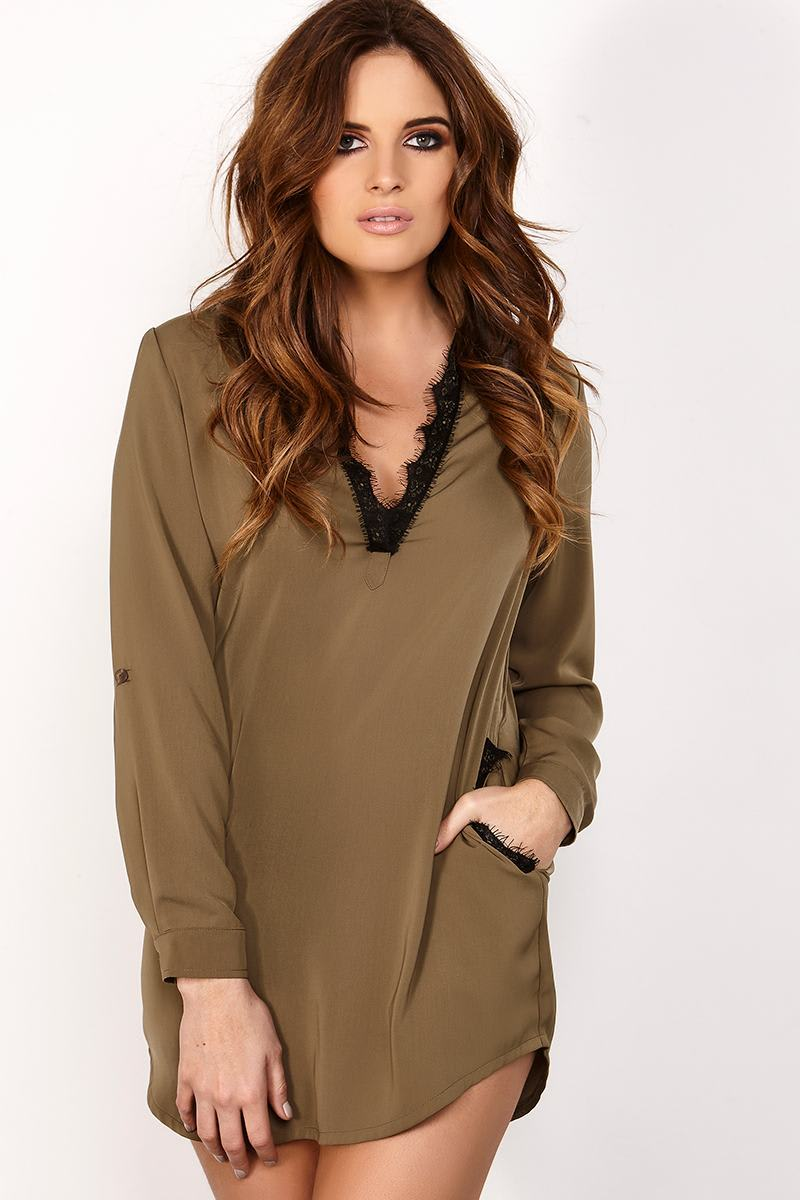 BINKY KHAKI PLUNGE LACE TRIM SHIRT DRESS
