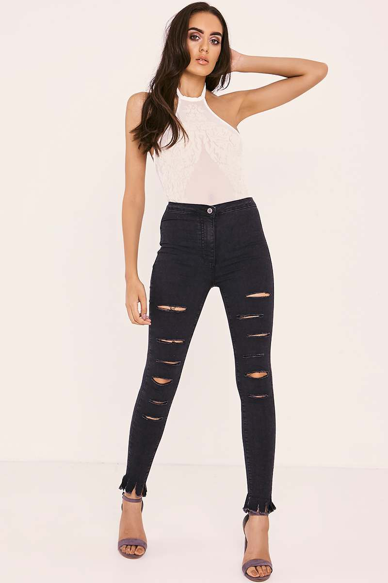RUTHA WASHED BLACK MULTI RIP HIGH WAISTED SKINNY JEANS