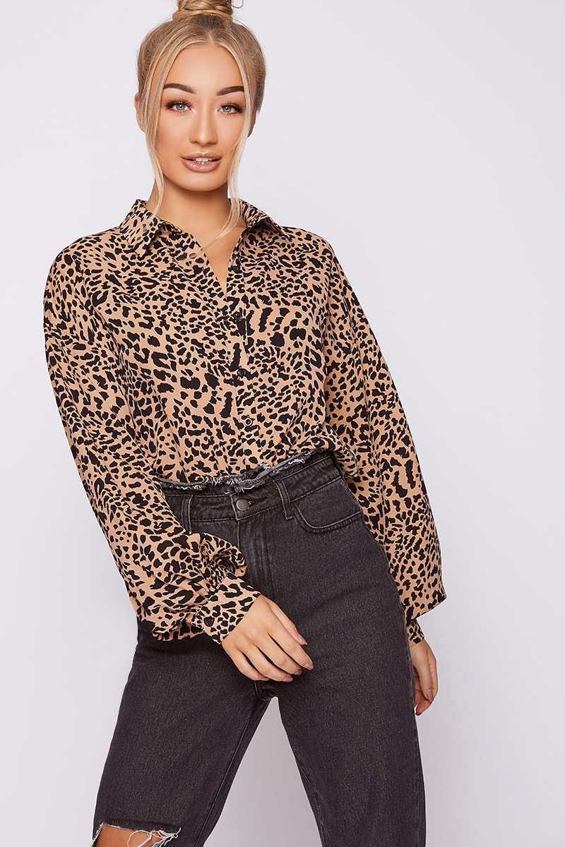 Emily Shak Stone Leopard Print Oversized Balloon Sleeve Shirt by In The Style
