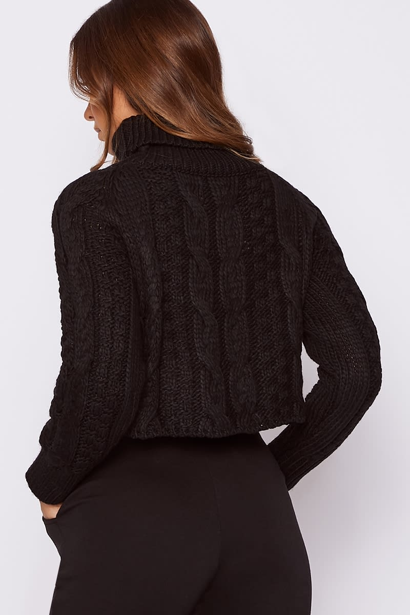 fbe1614ba4a SALLY BLACK ROLL NECK CABLE KNIT CROPPED JUMPER