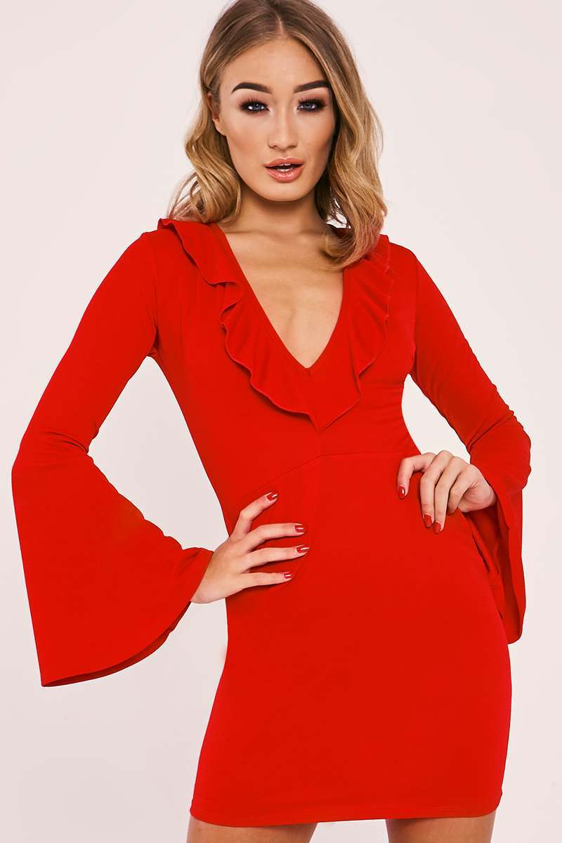 BAYLIE RED FRILL PLUNGE FLARED SLEEVE BODYCON DRESS