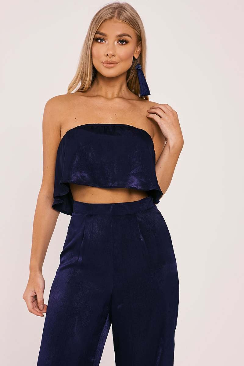 BILLIE FAIERS NAVY SATIN PALAZZO TOP