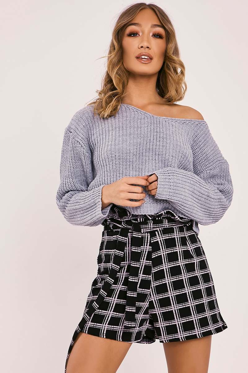 CHARLOTTE CROSBY GREY OVERSIZED OFF SHOULDER CROPPED KNIT JUMPER