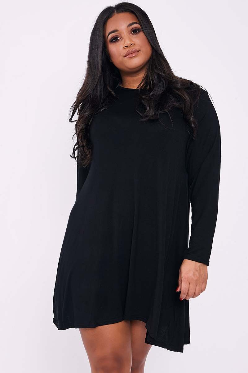 CURVE LAYLEE BLACK PLAIN SWING DRESS