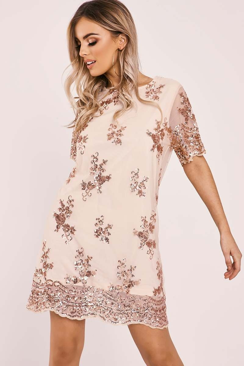 ELYTA ROSE GOLD FLORAL SEQUIN T SHIRT DRESS