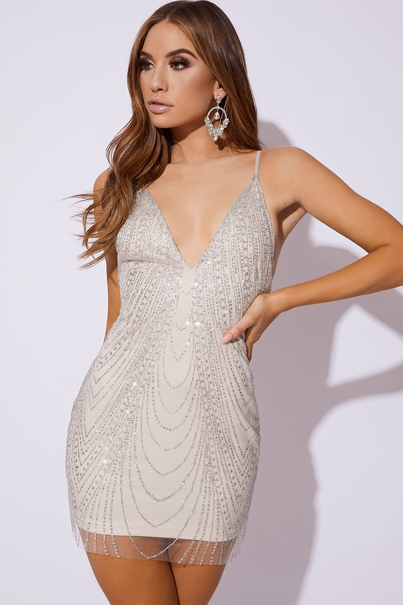 BELITA SILVER GLITTER MESH MINI DRESS