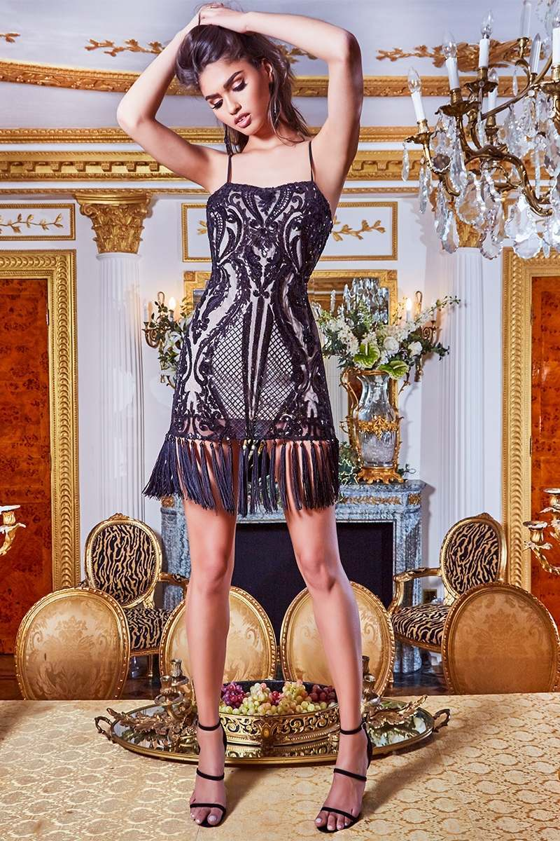 PREMIUM BLACK PLACEMENT SEQUIN STRAPPY TASSEL HEM MINI DRESS