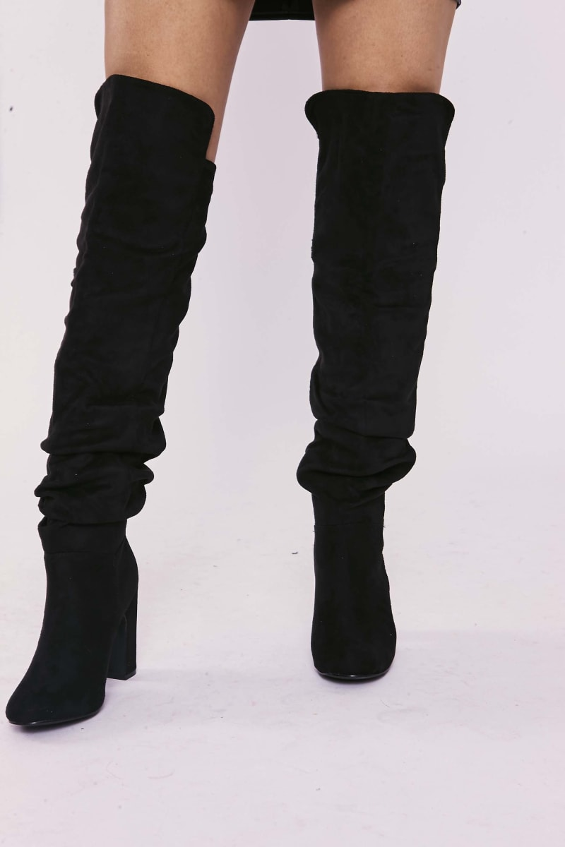 SELLAH BLACK FAUX SUEDE RUCHED OVER THE KNEE HEELED BOOTS