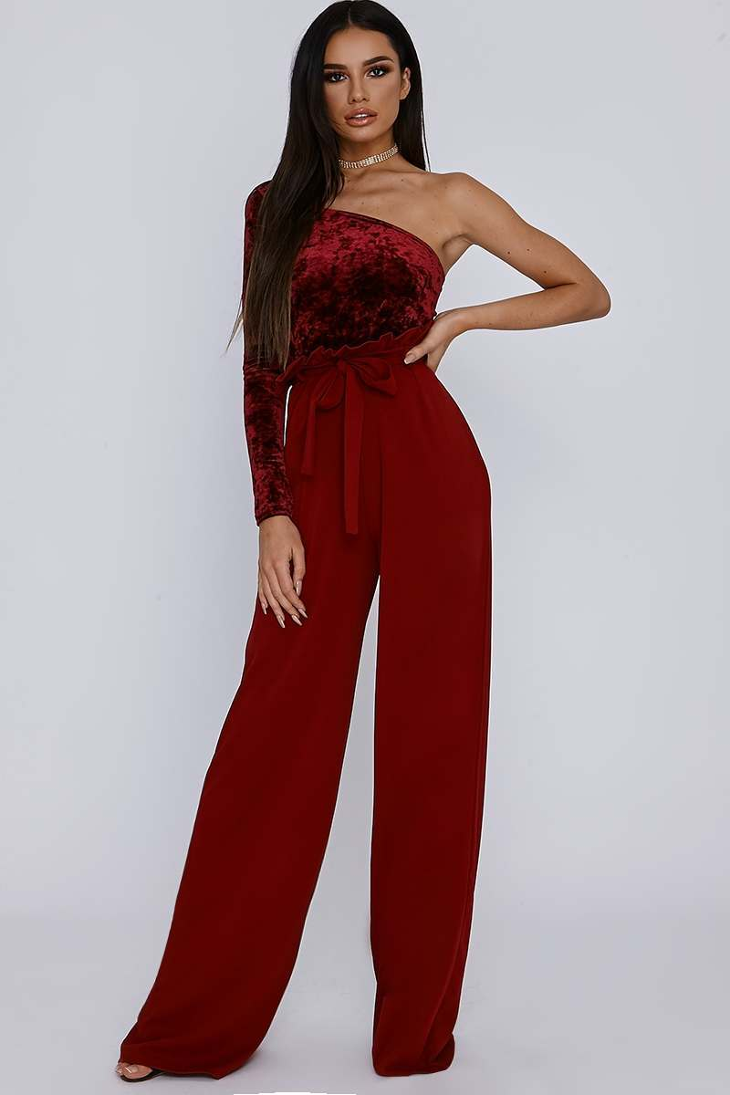 SARAH ASHCROFT TALL WINE CREPE PAPERBAG TROUSERS