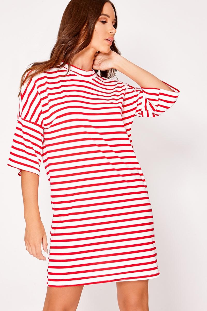 LORI RED STRIPED OVERSIZED T SHIRT DRESS