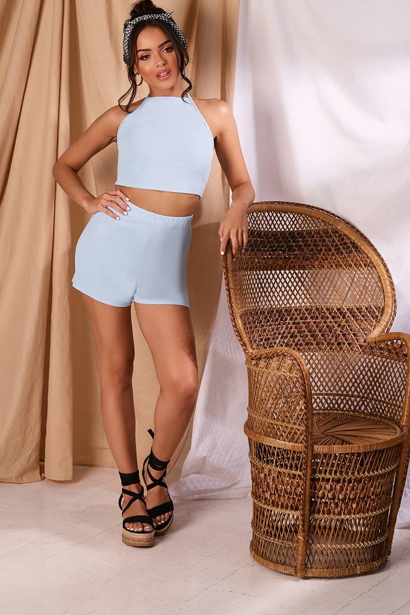 KYLSA BABY BLUE CREPE SHORTS
