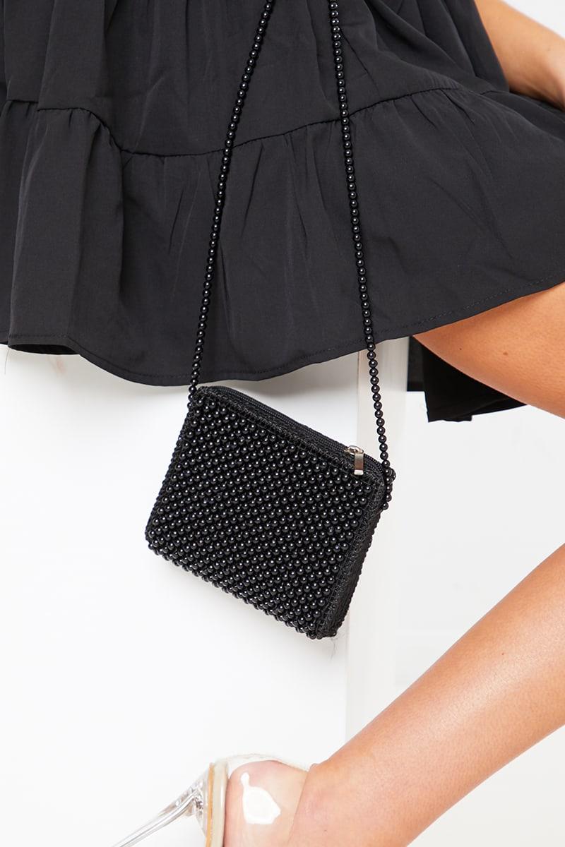 BLACK BEADED CROSS BODY BAG