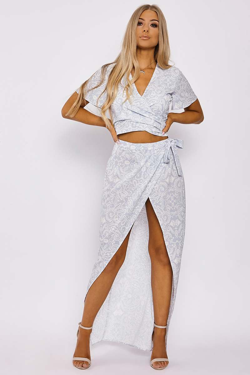 BILLIE FAIERS BLUE PORCELAIN PRINT WRAP MAXI SKIRT