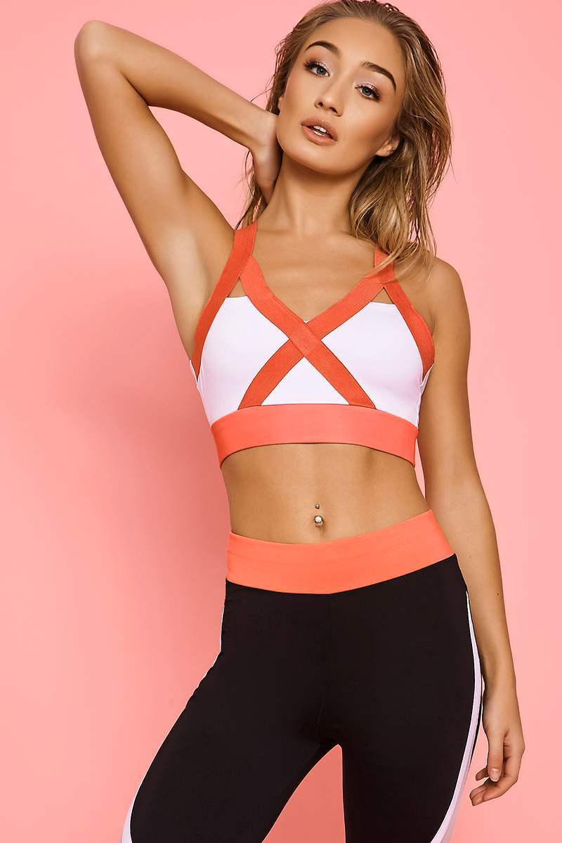 CHARLOTTE CROSBY WHITE CROSS STRAP SPORTS BRA