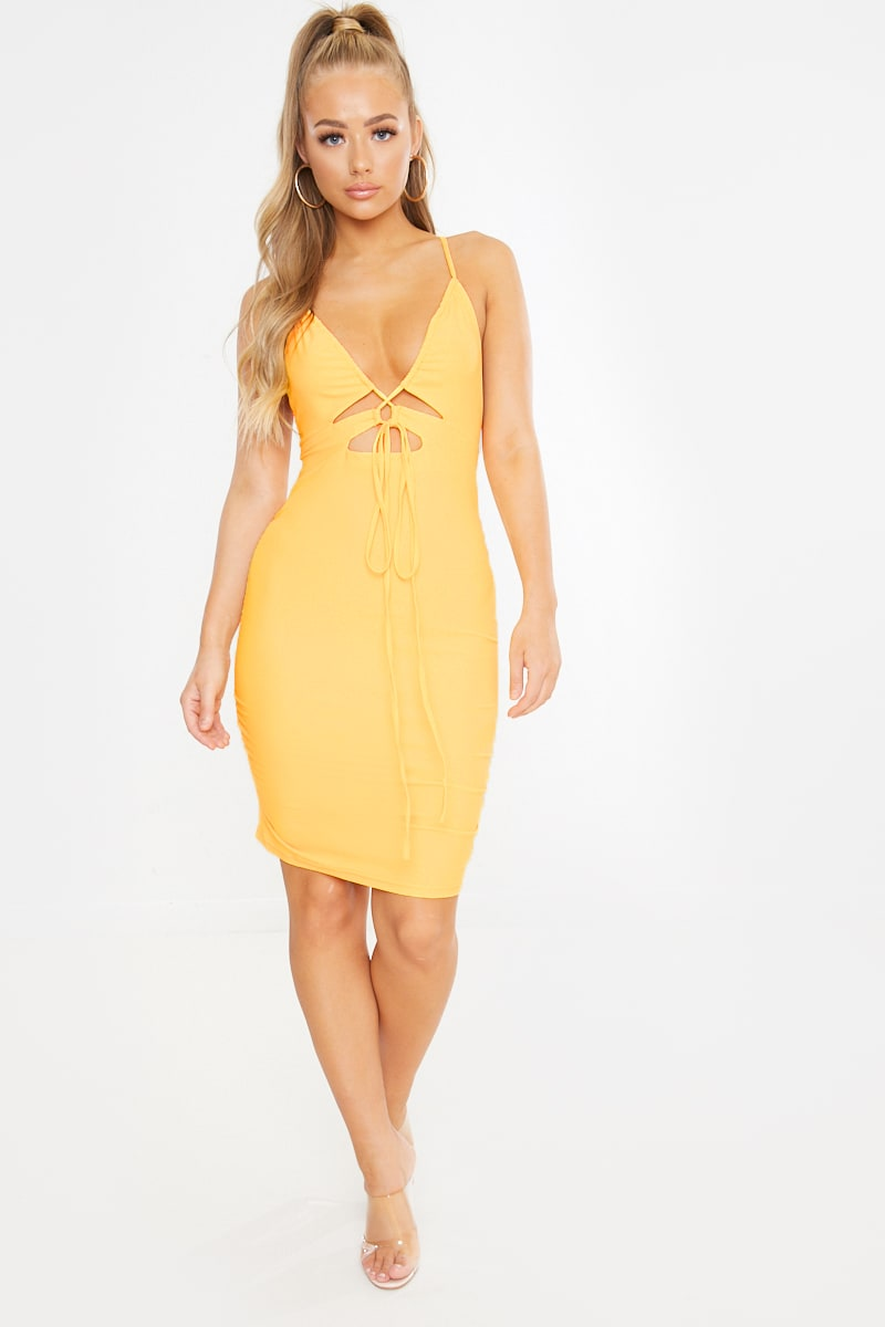 ARRAELLE YELLOW SLINKY CUT OUT RUCHED MINI DRESS