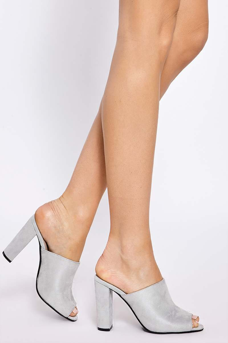 AISLEY LIGHT GREY FAUX SUEDE HEELED MULES